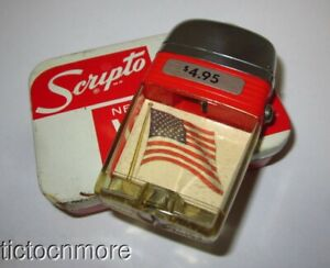 VINTAGE SCRIPTO VU-LIGHTER WINDPROOF LIGHTER USA AMERICAN FLAG & BOX UNUSED