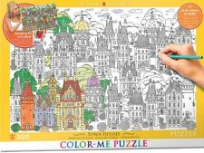 Jigsaw Puzzle Color Me Town Houses 300 pieces NEW Paint it Yourself StressRelief