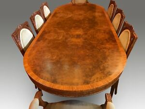 8.6ft BEAUTIFUL BURR WALNUT REGENCY STYLE DINING TABLE, PRO FRENCH POLISHED