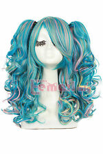 Lolita Girls 50cm Lolita Clip on Ponytail Rainbow Wave Cosplay Full Wig ZY129