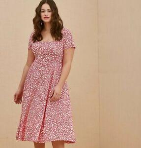 Torrid Fuchsia Pink Floral Scuba Knit Midi Dress 2X