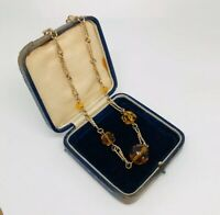 Vintage Necklace Gold Tone Collar Length Smoky Faceted Glass Beads Hook Clasp
