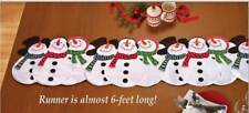 Table Runner Christmas Snowmen Galore 68x13 inch Embroidered Appliqued Pieces