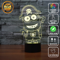 MINIONS PIRATE 3D Acrylic LED 7 Colour Night Light Touch Table Desk Lamp Gift