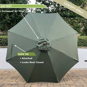 11ft 8 Ribs Polyester Replacement Umbrella Canopy in Sage Green (Canopy Only)