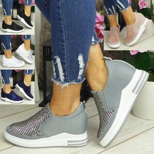 Ladies Trainers Sneakers Womens Wedge Bling Slip On Hidden Heel Pumps Comfy Shoe