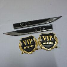2PCS VIP Sticker Golden Emblem + Pair Sharp Black Fender Badge Motors 3D Logo #5