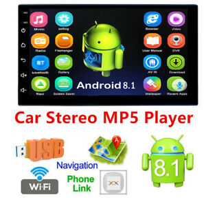 "7""2Din Android 8.1 Touch Quad Core Car Stereo MP5 Player GPS Wifi entertainment"