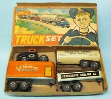 ALPS JAPAN EXCLUSIVE TIN FRICTION TOY DAIRIES TRANSPORT HAULAGE TRUCK SET & BOX