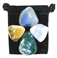 VERBAL COMMUNICATION Tumbled Crystal Healing Set = 4 Stones + Pouch + Card