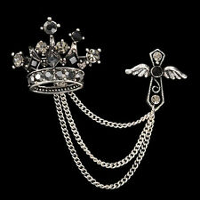 Crown Cross Unisex Jacket Coat Scarf Brooch Pin Jewelry Accent Pin Chain Accent