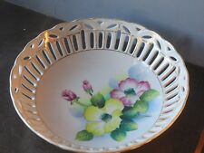 Japan Porcelain Gold Trimmed Pierced Reticulated Fruit Treat Serving Bowl