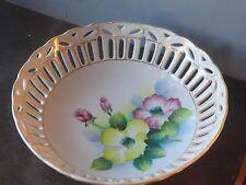Japan Porcelain Gold Trimmed Pierced Reticulated Fruit Treat Serving Bowl