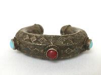 ANCIEN BRACELET JONC ARTISANAT ETHNIQUE METAL OUVRAGE PIERRE EN CABOCHON E234