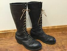 Vtg LINESMAN BOOTS LINEMAN WORK BLACK LEATHER STEEL TOE Motorcycle Punk sz 8-8.5