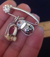 $8k+ Aaron Basha 18k White Gold Diamond Pin & 2 Diamond Baby Shoe Charms EUC