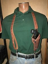 """Leather Suspenders w S&W Model 36 37 637 Taurus 85 2"""" Holster Metal Pant Clips"""