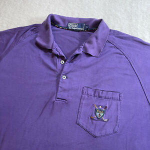 Ralph Lauren Polo Shirt Shield Crossed Clubs Men's XL Purple Golf Vintage Soft