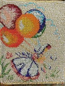 """Antique Victorian Beaded Panel Girl with Balloons 10x8"""" Glass Seed Bead Art"""