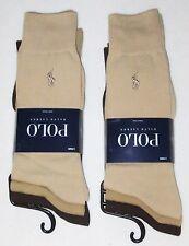 POLO Ralph Lauren 6 pairs beige brown tan smooth fine dress socks men's