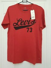 Levis Mens New T Shirt Red And Black Size S