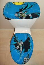BATMAN Blue Fleece Fabric Toilet Seat Cover Set Bathroom Accessories