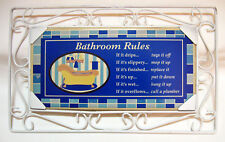 BATHROOM RULES Wall Art Tile White Wrought Iron Wire Frame Tile Stamped Cizhuan