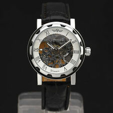 Winner Classic Men Black Leather Band White Dial Skeleton Mechanical Wrist Watch