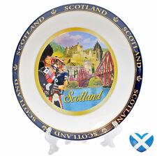 SCOTLAND Ceramic Display Plate & Stand 17cm Metallic Paint Historic SOUVENIR UK