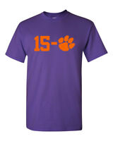 Clemson Tigers 15-0 2019 Champions Men's T-Shirt New - Purple w/ Orange