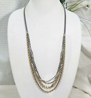 Vintage Asymmetrical Duotone Silver and Brass Multi Strand Chain Link Necklace