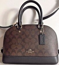 NWT Coach 58295 mini Sierra Satchel Handbag Signature Coated Canvas Brown /Black
