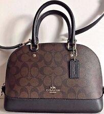 NWT Coach 58295 mini Sierra Satchel Handbag Signature PVC Brown / Black