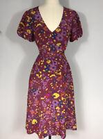 ModCloth Purple Multicolored Floral Print Tie Waist Short Sleeve Dress Women's M