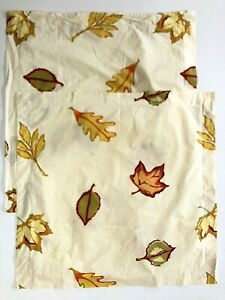 2 Pottery Barn Scattered Leaf EURO Pillow Shams Autumn Fall Ivory Leaves