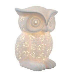 9.84 Inch White Porcelain Wise Owl Shaped Table Lamp W/ Soft Light& Animal Shape