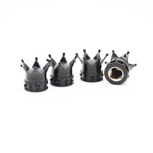 4 Pcs Car Black king Hat Crown Tyre Tire Wheel Valve Stems Air Dust Cover Cap
