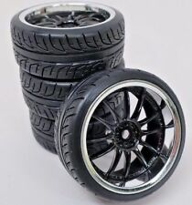1/10 Scale On-Road 12 Spoke Black Rims with V-Grove Drift Tires 12mm RC Wheels