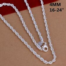 "16"" - 24"" Mens Womens 925 Sterling Silver 4mm Twisted Rope Chain Necklace #N150"