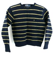 RALPH LAUREN Boys Jumper Sweater S Small Navy Blue Yellow Stripes Lambswool