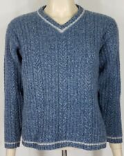 Vintage Maurices blue white ribbed v-neck Shetland Wool sweater ladies Large