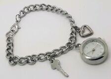 Ladies Avon Watch Key & Heart Charms Chain Bracelet Watch **New Battery**