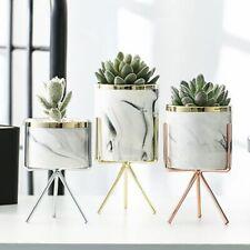 Nordic Ceramic Iron Art Vase Marble Pattern Plant Flower Pot Home Office Vases