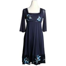 Vivienne Tam Mesh Dress Embroidered Flowers 0 Blue Vtg 90s Couture Rare Import