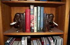 Elephant Theme Hand Carved Tropical Hardwood Bookends 10 Lbs Free Shipping