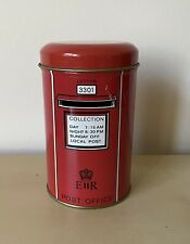 Cute Vintage Red Letter Postal Box ER Money Box Tin Plate Change Collector Post