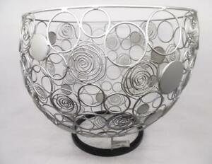 Sitcom SUM945-SIL Sumatra Large Swirl Bowl Decor, Silver, 14-1/2 by 12-1/4-Inch