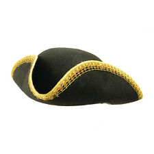 Adult Black Tricorn Hat & Gold Trim Pirate Dick Turpin Fancy Dress Costume Prop