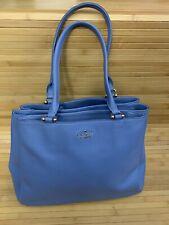 KATE SPADE Pebbled Leather Tote Shoulder Bag Large Blue