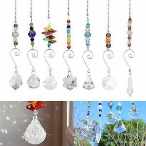 7x Hanging Crystal Prism Pendant Rainbow Suncatcher Home Window Chandelier Decor